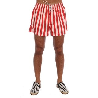 Dolce & Gabbana Red White Striped Beachwear Shorts - XL