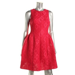 Calvin Klein Womens Lace Pleated Scuba Dress