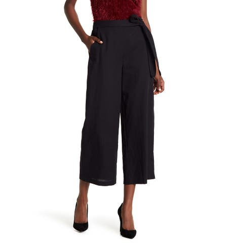 CAD Deep Black Womens Size Small S Tie-Waist Cropped Stretch Pants 574