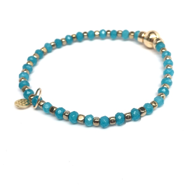 "Turquoise Jade, Gold Hematite 'Infinity Friendship' 7"" Stretch Bracelet 14k Gold Over Sterling Silver"
