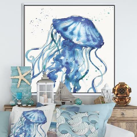 Designart 'Blue Deep Sea X' Coastal Framed Canvas - Blue