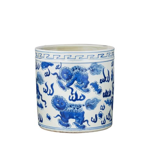 Blue And White Orchid Pot Foo Dog Motif