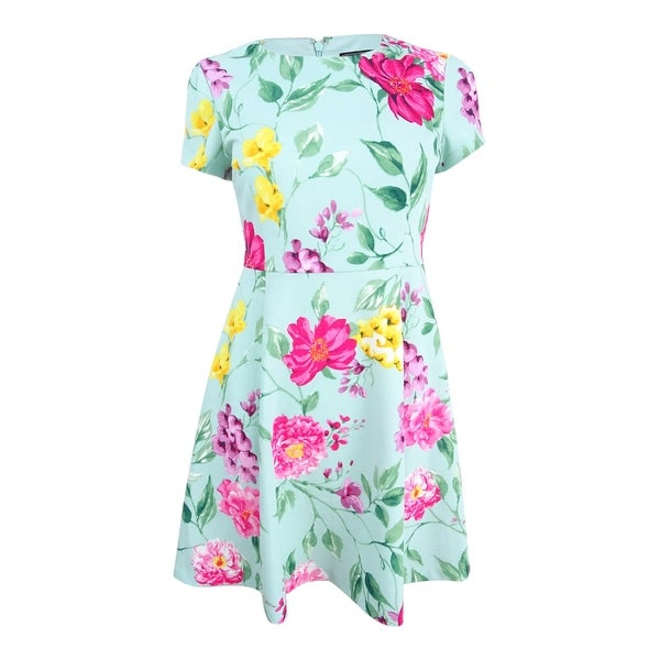 d500949f751b Shop Jessica Howard Women's Petite Floral-Print Fit & Flare Dress - Aqua -  On Sale - Free Shipping Today - Overstock - 26290144