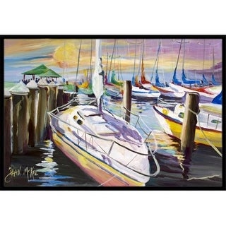 Carolines Treasures JMK1044JMAT Sailboats At The Fairhope Yacht Club Docks Indoor & Outdoor Mat 24 x 36 in.