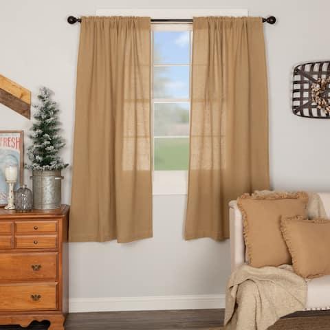 Farmhouse Curtains VHC Cotton Burlap Short Panel 63x36 Pair Rod Pocket Cotton Solid Color - Short Panel 63x36