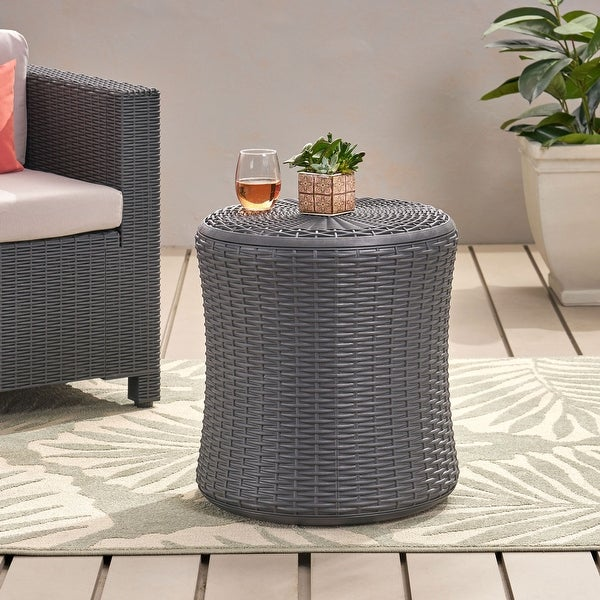Simone Faux Wicker Storage Side Table by Christopher Knight Home. Opens flyout.