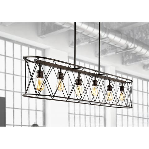 "Marion 37.75"" 6-Light Adjustable Iron Farmhouse Rustic LED Pendant, Oil Rubbed Bronze"