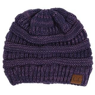 Gravity Threads CC Knit Soft Stretch Beanie Cap, Purple