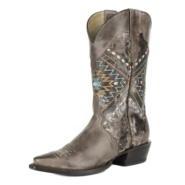 Roper Boots Womens Leather Pull On Snip Toe