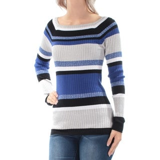 Womens Blue Long Sleeve Square Neck Casual Sweater Size XL