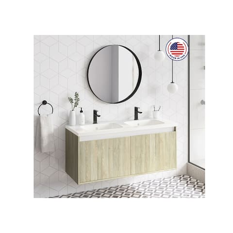 "48"" Modern Bathroom Vanity Cabinet Village Set WF447 Toasted Oak Wood W 48 X H 20 X D 18 in cabinet + double sink"