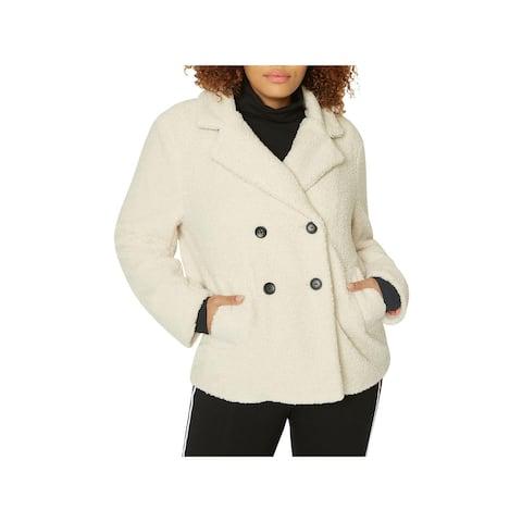 Sanctuary Womens Plus Free Spirit Faux Fur Coat Winter Double Breasted