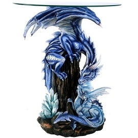 Guardian Dragon Protecting Young Glass Top Accent Table