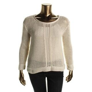 Sanctuary Womens Open Stitch Raw Hem Pullover Sweater