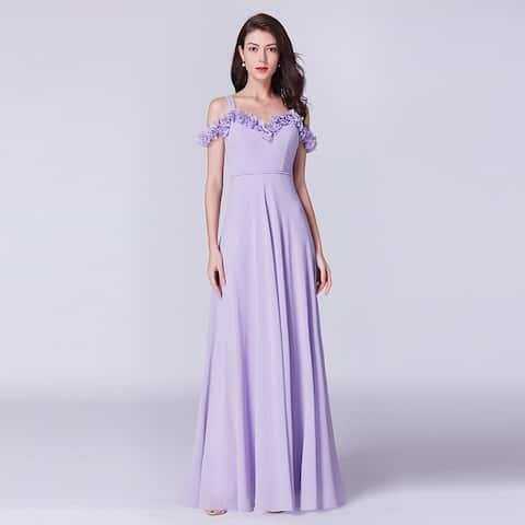 Ever-Pretty Women's Cold Shoulder Chiffon Long Wedding Party Bridesmaid Dress 07414