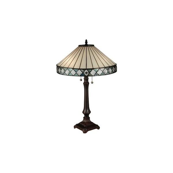 Meyda Tiffany 134537 Diamondring 2-Light Desk Lamp - Mahogany Bronze - N/A