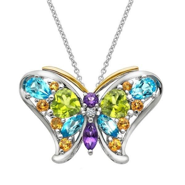 4 3/8 ct Natural Multi-Stone Butterfly Pendant with Diamond in Sterling Silver & 14K Gold - Green