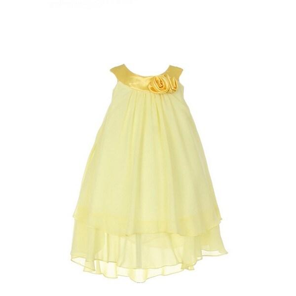 6f30ec61d3e28 Little Girls Yellow Silky Hi-Low Chiffon Flower Girl Easter Dress 4-6