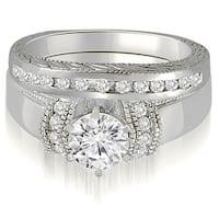 0.60 cttw. 14K White Gold Antique Style Cathedral Round Diamond Bridal Set