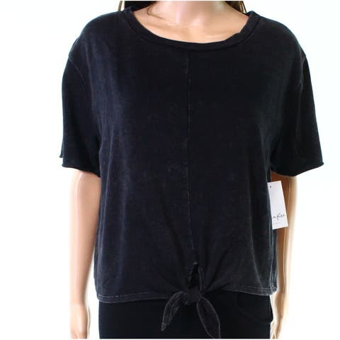 Love Fire Black Womens Size Large L Tie Front Short Sleeve Knit Top
