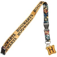 Harry Potter Hogwarts Lanyard With Metal Charm ID Card Holder and Collectible Sticker - One Size Fits most
