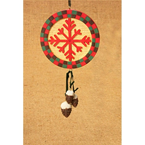 "6"" Rustic Lodge Southwestern Snowflake Pinecone Christmas Ornament #W3564"