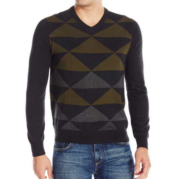 8e89adc496 Perry Ellis NEW Black Green Mens Size Small S Pattern V-Neck Sweater. Click  to Zoom