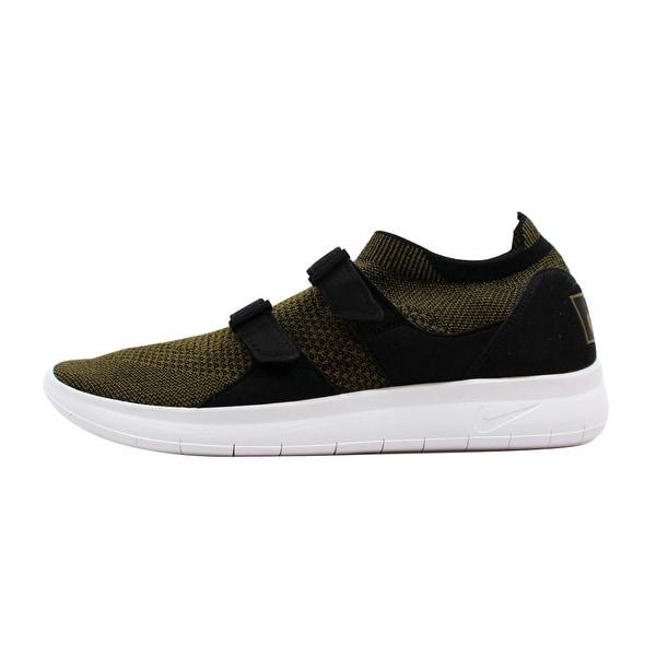 Nike Men's Air Sockracer Flyknit Black/Olive Flak-Black-White 898022-002