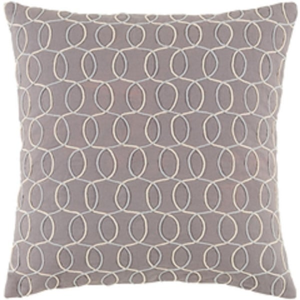 "22"" Platinum Gray, Silver and Eggshell White Woven Decorative Throw Pillow"