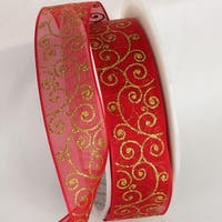 "Decorative Sheer Red and Gold Swirl Wired Craft Ribbon 1.5"" x 27 yards"