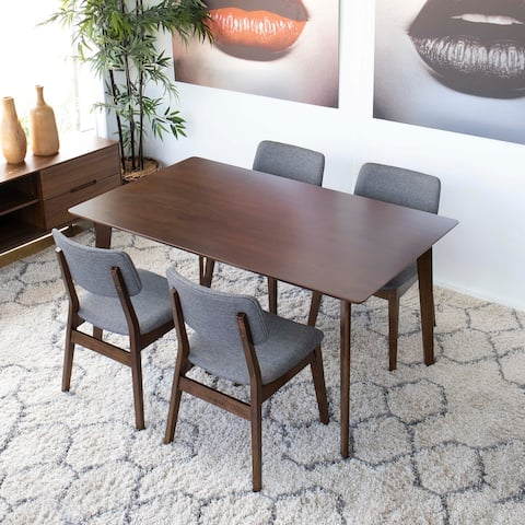 Aloisio 5-Piece Mid-Century Modern Dining Set with 4 Linen Dining Chairs in Grey
