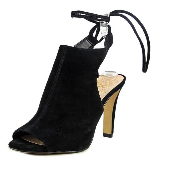 Vince Camuto Ollisa Women Peep-Toe Suede Black Slingback Heel