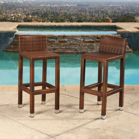 Abbyson Outdoor Palermo Wicker 29 Inch Bar Stool (Set of 2)