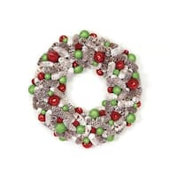 "21"" Candy Crush Frosted Pine Cone and Ball Ornament Artificial Christmas Wreath - multi"