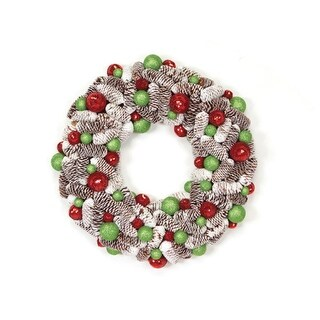 """21"""" Candy Crush Frosted Pine Cone and Ball Ornament Artificial Christmas Wreath"""