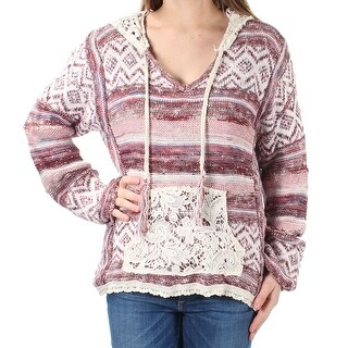 AMERICAN RAG $69 Women New 1656 Red Ivory Embroidered Hooded Sweater M Jr B+B