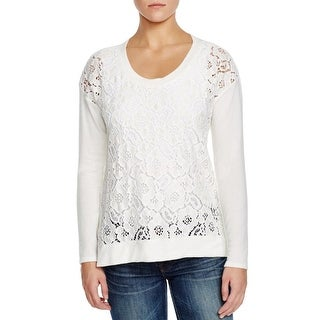 Red Haute Womens Pullover Sweater Lace Front Scoop Neck