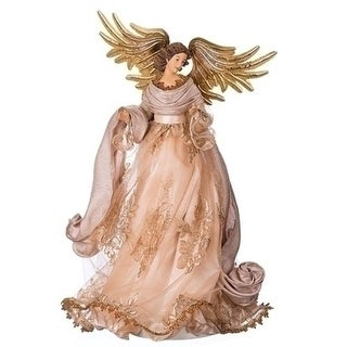 """19.5"""" Antique Gold and Champagne Standing Angel Christmas Tree Topper- Unlit"""