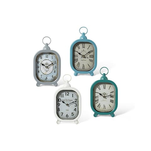 Set of 4 Teal Green and White Vintage style Tabletop Clocks 11.5""