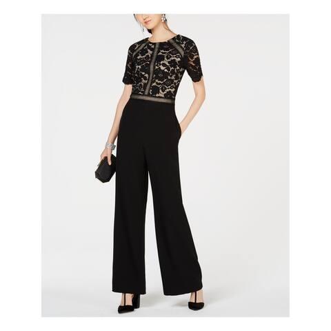 VINCE CAMUTO Womens Black Lace Trim Short Sleeve Jewel Neck Wide Leg Jumpsuit Size: 16
