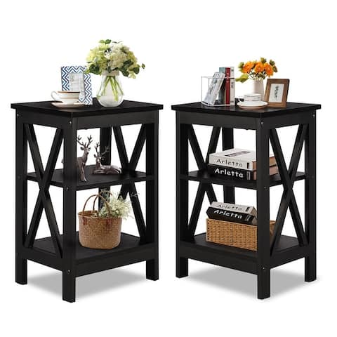"""VECELO Set of 2 Modern X-base End Table(Available in 3 color) - 15.7""""L x 11.8""""W x 24.2""""H"""