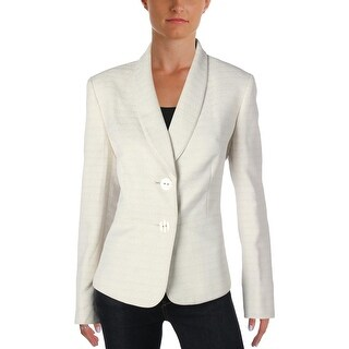 Le Suit Womens Seychelles Two-Button Blazer Tweed Textured