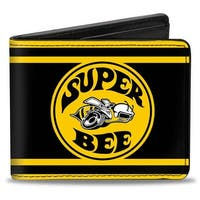 Super Bee Logo Stripes Black Yellow Bi Fold Wallet - One Size Fits most
