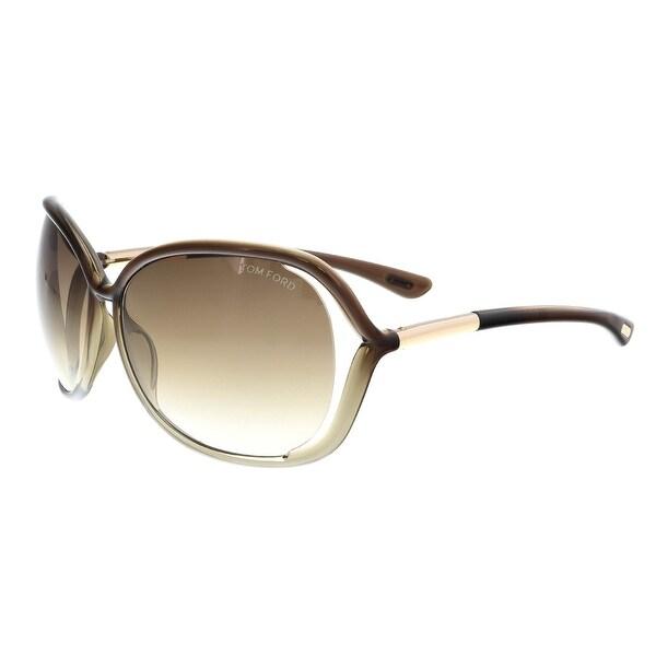 f7b3442b92e Shop Tom Ford FT0076 S 38F RAQUEL Taupe Square Sunglasses - Free ...