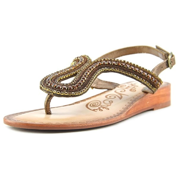 Naughty Monkey Alloy Mate Women  Open Toe Leather Bronze Slides Sandal