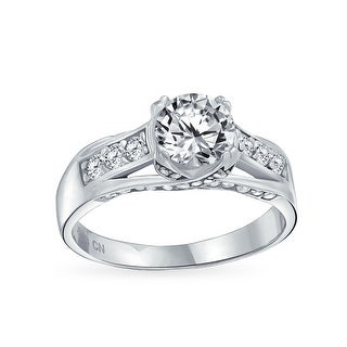 Link to 2CT Round Brilliant Cubic Zirconia Sterling Silver Criss Cross Band Crown Mount Solitaire AAA CZ Engagement Band Ring Similar Items in Rings