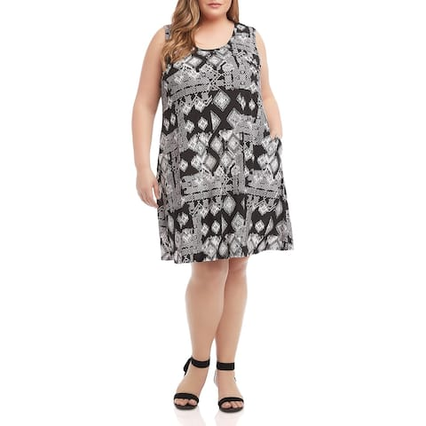 Karen Kane Womens Plus Chloe Casual Dress Printed Crew Neck - Black White