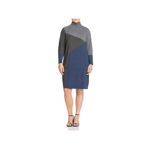 Nic + Zoe Womens Plus Laid Back Sweaterdress Mock Neck Colorblock