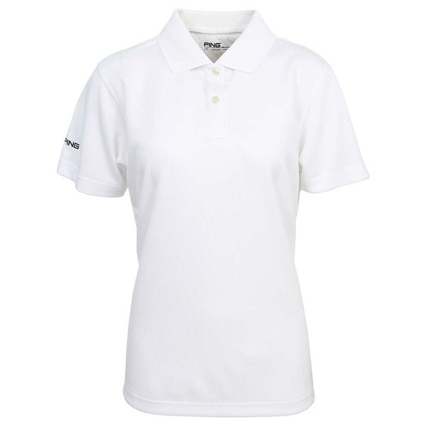 Ping Women's White Small Performance Polyester Short Sleeve Polo Golf Shirt
