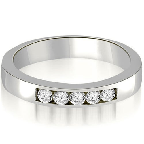 0.50 cttw. 14K White Gold Round Diamond 5-Stone Channel Wedding Band